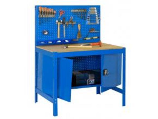 etabli atelier bois m tal avec panneau porte outils et. Black Bedroom Furniture Sets. Home Design Ideas
