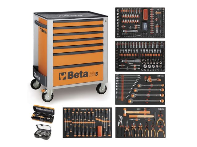 servante mobile d atelier 7 tiroirs beta c24s 7 compo 329 outils orange de all4auto. Black Bedroom Furniture Sets. Home Design Ideas