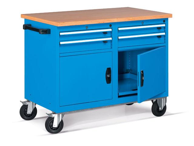 Etabli mobile d 39 atelier avec 2 portes et 2 tiroirs de for Assurance garage professionnel