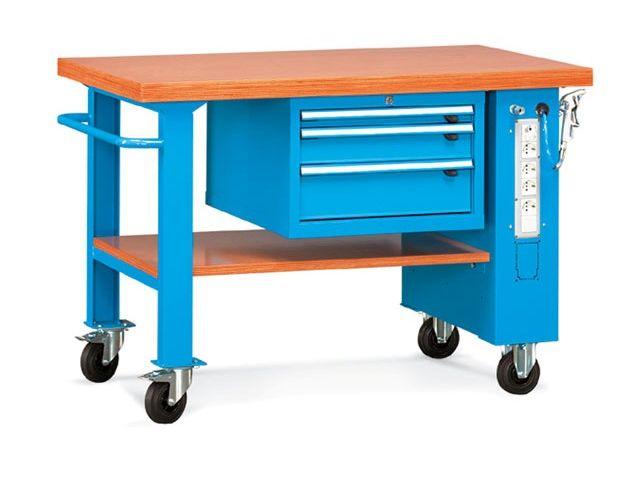 Etabli roulant avec plateau bois et quipement lectrique for Assurance garage professionnel