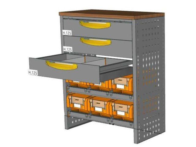 Etabli petite profondeur 3 tiroirs et 6 bacs de setam for Assurance garage professionnel