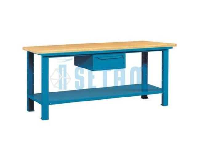 etabli acier avec plateau bois et tiroir 2 m tres de setam rayonnage et mobilier professionnel. Black Bedroom Furniture Sets. Home Design Ideas