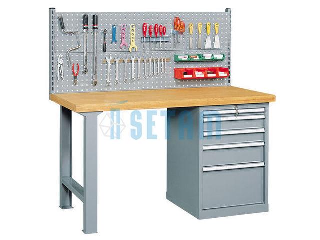 Etabli panneau outillage tiroirs et plateau bois de for Assurance garage professionnel