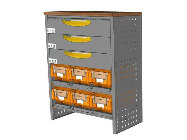 etabli petite profondeur 3 tiroirs et 6 bacs de setam rayonnage et mobilier professionnel. Black Bedroom Furniture Sets. Home Design Ideas