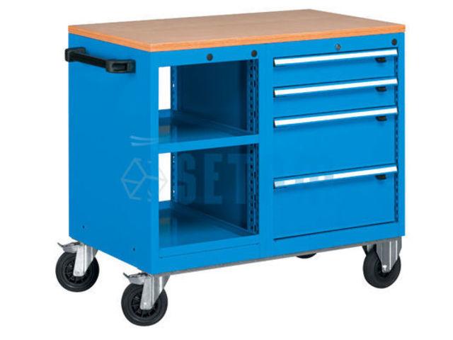 Etabli roulant avec 1 bloc tablettes et bloc 4 tiroirs de for Assurance garage professionnel