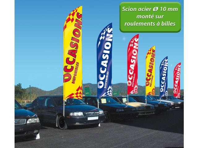 Grand drapeau mat super voile l gance avec scion inox for Plv garage automobile