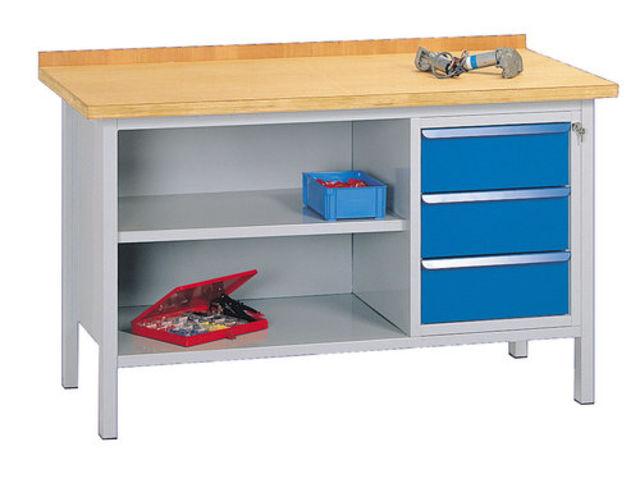 Etabli fixe dessus bois mm avec 3 tiroirs de setam for Assurance garage professionnel