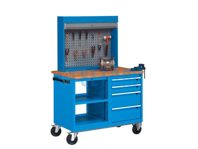 Etabli roulant avec bloc tablettes 4 tiroirs et armoire for Assurance garage professionnel