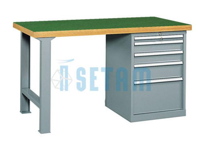 Etabli avec caisson 5 tiroirs et plateau urphen mm for Assurance garage professionnel