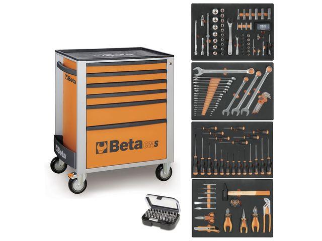servante mobile d atelier 6 tiroirs beta c24s 6 compo 147 outils orange de all4auto. Black Bedroom Furniture Sets. Home Design Ideas