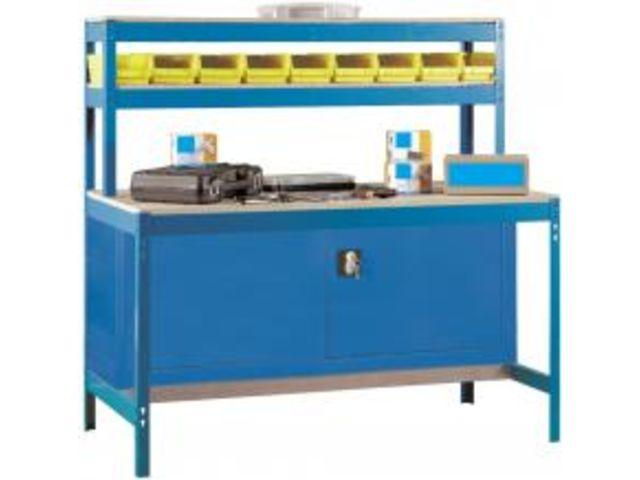 etabli atelier bois m tal avec armoire m tallique de rangement 1440x1200x750mm bleu 3 niveaux. Black Bedroom Furniture Sets. Home Design Ideas