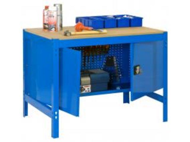 etabli atelier lourde charge avec armoire m tallique de rangement 840x1200x750mm bleu 1 niveau. Black Bedroom Furniture Sets. Home Design Ideas