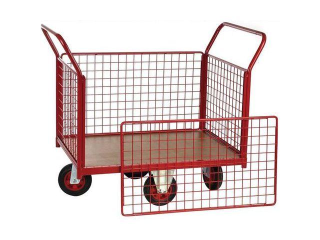 chariot habillage grillag roues losange force 500 kg 2 dossiers 2 ridelles de manutan. Black Bedroom Furniture Sets. Home Design Ideas