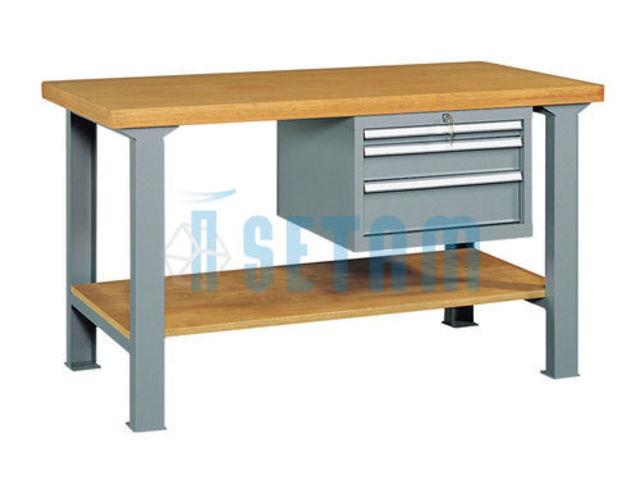 etabli d 39 atelier avec tag re et 3 tiroirs l1500 de setam. Black Bedroom Furniture Sets. Home Design Ideas