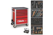 Servante mobile d'atelier 6 tiroirs BETA C24S/6 + compo 147 outils - Rouge