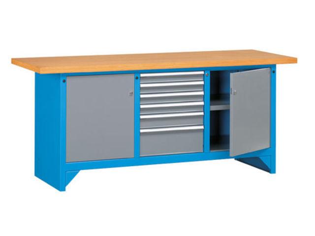 Etabli d 39 atelier avec portes et 6 tiroirs de setam for Assurance garage professionnel